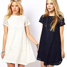 New Women Casual Short Sleeve Lace Cocktail Club Party Loose Princess Mini Dress