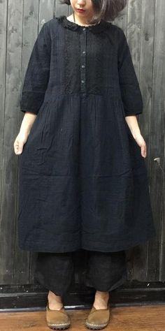 Fine navy linen shift dresses casual linen cotton dress #linendress#boutique#linen#omychic