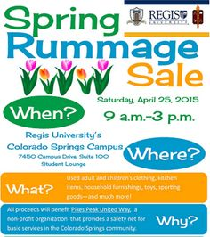 It's a great day for a Rummage Sale! Come on out to the Colorado Springs Campus of Regis University between now and 3 p.m. All proceeds benefit PPUW!