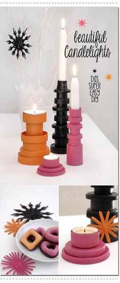 Recycled candlestick holders using bottle caps and spray paint. Gloucestershire Resource Centre http://www.grcltd.org/scrapstore/