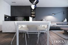 Four minimalist style homes that use white & grey decor in varying quantities to achieve different looks & moods. Modern open plan layouts plus home offices. Futuristisches Design, Deco Design, House Design, White Dining Set, Decoration Gris, Grey Interior Design, Kitchen Collection, Living Room Grey, Modern Kitchen Design