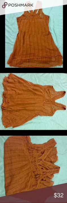 FREE PEOPLE Linen unfinished hem dress FP Racerback Linen Unfinished Hem Rusty colored mini dress in Medium! Worn a few times and in good condition!  Fits like SMALL! Free People Dresses Mini
