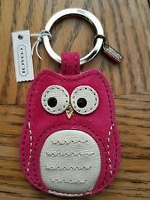 NWT COACH PINK SUEDE OWL KEY CHAIN KEY RING FOB F66658 SV/MULTI-COLOR RARE