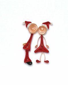 Herr und Frau Weihnachtsmann aus gewickelten Papierstreifen (ohne Anleitung)