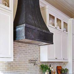Zinc Range Hood – Custom Made Products Oven Vent, Oven Hood, Modern Farmhouse Kitchens, Farmhouse Sinks, White Kitchens, Dream Kitchens, Small Kitchen Redo, Kitchen Ideas, Kitchen Vent Hood