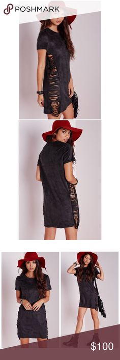 """Missguided NWT Shredded Side Vegan Suede Dress •Brand: Missguided •Style: Shift dress •Design details: This dark charcoal, almost black shift dress is a knockout in its faux suede and shredded side panels.  Simple silhouette with cap sleeves can easily be worn under a leather jacket for a night out or if it's not jacket weather where you live, show off this amazing dress!  Sold out. •Condition: New with tags  •Measurements Bust: up to 38"""" Length: 33""""  💰Bundle 2 or more items for 10%…"""