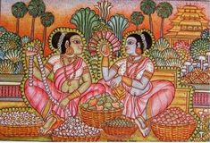 Kerala Mural Painting, Buddha Painting, Indian Art Paintings, Old Paintings, Madhubani Art, Madhubani Painting, Saree Painting Designs, Painting Styles, Phad Painting