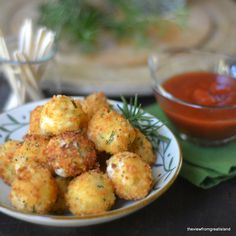 Fried Rosemary Mozzarella Balls --- it's all about molten cheese, a crispy crust. - Fried Rosemary Mozzarella Balls — it's all about molten cheese, a crispy crust, and a tangy tomato sauce for dunking… Finger Food Appetizers, Appetizers For Party, Appetizer Recipes, Finger Foods, Cheese Recipes, Cooking Recipes, Healthy Recipes, Cheese Food, Cheese Plates