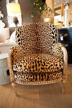 Antique French Bergere Chair upholstered in Scalamandré Leopard Velvet. One of the most beautiful fabrics in the world! Printed Accent Chairs, Decor, Interior Design, French Bergere Chairs, Furniture, Interior, Salon Interior Design, Home Decor, Animal Print Furniture