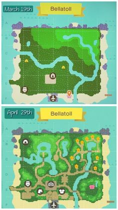 Before and after maps of my island Animal Crossing Memes, Animal Crossing Qr Codes Clothes, Animal Crossing Pocket Camp, Map Layout, Ac New Leaf, Island Map, Animal Games, Island Design, Map Design