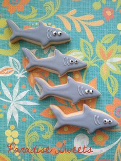 Mini Shark Sugar Cookies  2 Dozen by ParadiseSweets on Etsy, $40.00