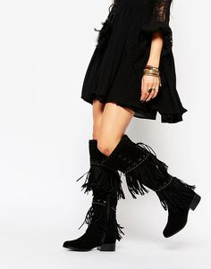 Image 1 ofCarvela Whip Black Suede Over The Knee Boots