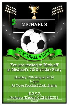 Party Invitations : Personalised Football Birthday Party Invitations with Rectangular Shape Card and Classic Ball Clip Art featuring White Note Wording - Football Party Invitations Cards Football Party Invitations, Birthday Party Invitation Wording, Invitation Card Party, Invitation Templates, Business Invitation, Invitations Kids, Invitation Layout, Soccer Birthday Parties, Football Birthday