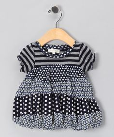 Take a look at this Navy & Gray Tiered Babydoll Tunic - Toddler & Girls by Baby Sara on #zulily today!