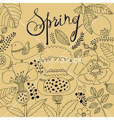Spring artistic background vector by MoleskoStudio on VectorStock®