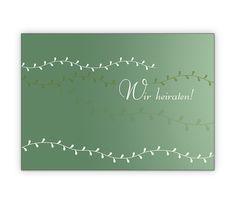Dezent elegante Hochzeitsanzeige in grün - http://www.1agrusskarten.de/shop/dezent-elegante-hochzeitsanzeige-in-grun/    00023_0_2850, Anzeige, Anzeigenkarten, Brautpaar, Einladung, Einladungskarte, Grusskarte, Hochzeit, Klappkarte00023_0_2850, Anzeige, Anzeigenkarten, Brautpaar, Einladung, Einladungskarte, Grusskarte, Hochzeit, Klappkarte