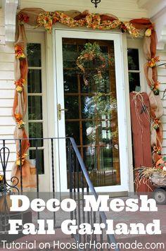 Deco Mesh Fall Garland Tutorial on HoosierHomemade.com