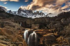 Argentina Patagonia Mount Fitz Roy - the most photogenic peak in the world Long exposure blurred the clouds