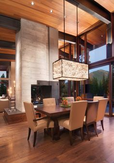 Poured form concrete chimney in a Martis home Luxurious interior design ideas perfect for your projects. #interiors #design #homedecor www.covetlounge.net