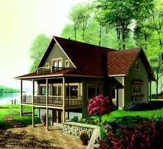 Discover the plan 3918 (Vistas which will please you for its 4 bedrooms and for its Cottage, chalet, cabin styles. Basement House Plans, Lake House Plans, Walkout Basement, Country Style House Plans, Craftsman Style House Plans, The Plan, How To Plan, Small Lake Houses, Small Cabins
