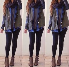 Cute warm winter outfit. Scarf. Boots. Layers.