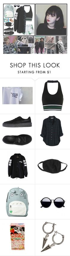 """""""   Soomin / Soo-min    OOTD    { Insert ToppDogg lyrics here }"""" by pastelcrimes ❤ liked on Polyvore featuring Au Jour Le Jour, Topshop, Puma, Xirena, Studio Ghibli and H&M"""