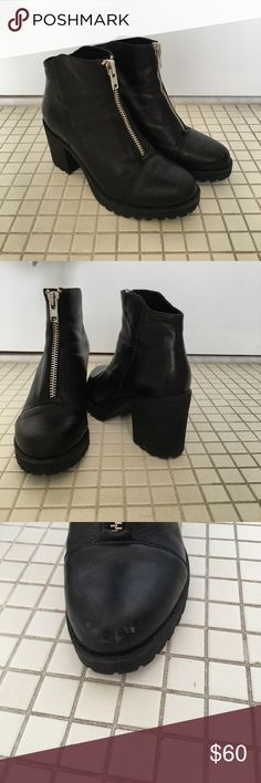 Vagabond front zip chunky boot ONLY AVAILABLE UNTIL JUNE 8!!! Vagabond boot with front zip and chunky heel. Bought a few years ago. Small scuff on left boot as shown in 3rd picture, but not noticeable when wearing. However, scuff is reflected in price drop. Vagabond Shoes Ankle Boots & Booties