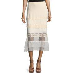 Jonathan Simkhai Threaded Tulle Lace Ruffle Midi Skirt (2 260 PLN) ❤ liked on Polyvore featuring skirts, blush, lace midi skirt, ruffled tulle skirt, white tulle skirts, flounce hem skirt and white lace skirt