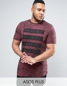 ASOS PLUS Longline Muscle T-Shirt With List Front Print And Washed Effect