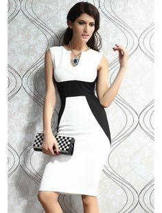 White Contrast Panel Midi Bodycon Dress | buy sexy Club Dresses ,  Club wear online in india | StringsAndMe
