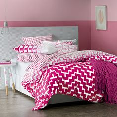 Add a definitive pop of colour to the bedroom with Cleo, a contemporary, geometric print in graduated shades of pink. A pink spot reverse and euro pillowcase provides another colourful twist to this bedroom story. Add the finishing touch with a beautifully embroidered, diamond-patterned cushion cover. Quilt cover has press stud closure.http://www.linenparties.com/public/Products/adult/cleo.aspx