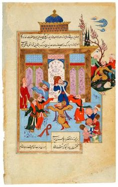 Participating in Samā˓, RūMī Stops His Ears Against the Cries of the Seljuq Sultan Rukn Al-Dīn Qlich | RūMī Stops His Ears | The Morgan Library & Museum