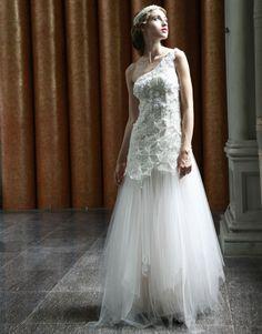 Tulle Asymmetric Neckline Embellished Bodice A-line Prom Dress