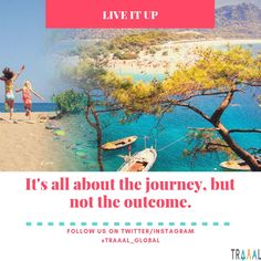 """LiveItUp: """"It's All About The Journey, But Not The Outcome"""" (^_^) #FollowUs & #StayTuned for updates \m/ #travel #motivation #travelquote #startups #quote #business #vacations #adventures #trips #tours #water #islands #onlinetravelagency #nature #joy #fun #travellers #tourists #ilovenature #travelgram #travelphotography #instatravel #subscribe #instaart #instaquote #photography #comingsoon"""