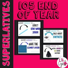 This blog post shares⭐105 EDITABLE Student Superlatives!!!⭐ These unique superlatives/awards are sure to address all of your students' individual personalities. Send them DIGITALLY this year since we're doing distance learning.This resource includes the PDF and PowerPoint version so that you can add text boxes, type each student's name, the teacher's name, etc.