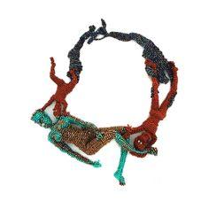 """JOYCE J. SCOTT DANCE Neckpiece. 2013. Peyote-stitched glass beads, thread, wire  9"""" x 8"""" x 2"""""""
