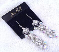 Clear and AB Swarovski Crystal Dangle Earrings