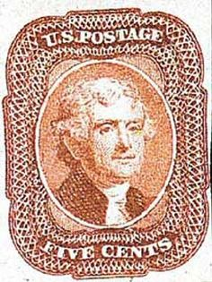 US #27 1858 1858 5c Jefferson, brick red, T1