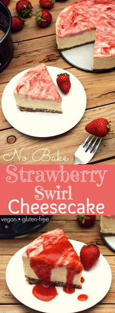 - No-Bake Strawberry Swirl Cheesecake (vegan, gluten-free) - A vegan No-Bake Strawberry Swirl Cheesecake worth hoarding! It has the authentic cheesecake taste without the heavy dairy. This healthier, rich & creamy dessert is easy to whip-up, only takes 10 ingredients and includes a fresh strawberry swirl top with extra for drizzling! via: @WYGYP