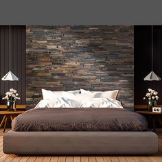 These panels come in - Realstone Systems Reclaimed Boatwood, Dark feature wall. These panels come in x pieces. Rustic Bedroom Design, Rustic Master Bedroom, Bedroom Bed Design, Home Decor Bedroom, Modern Bedroom, Bedroom Ideas, Bed Ideas, Grey Bedroom With Pop Of Color, Tile Bedroom