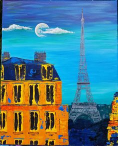 Your place to buy and sell all things handmade Eiffel Tower Painting, Eiffel Tower At Night, Painting Inspiration, Wooden Frames, Moonlight, Original Artwork, Color Schemes, Paris, The Originals