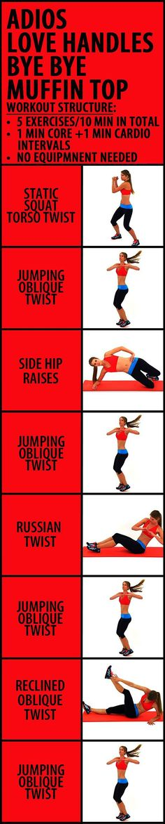 10 minute Adios Love Handles Bye Bye Muffin Top workout to get rid of that pesky belly fat. This is a short but very effective, easy-to-follow cardio and core blend - 8 stomach tightening exercise syou can do at home, no equipment needed. Remember, you wi diet workout muffin top