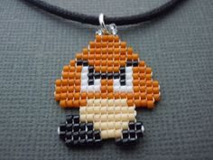 Handmade Seed Bead Goomba Necklace by Pixelosis on Etsy, $15.00