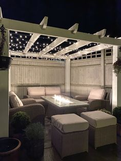 Feel like you're under a starry night sky. Garden decor inspiration with outdoor rattan patio furniture, a fire pit table, pergola and fairy lights Backyard Seating, Backyard Patio Designs, Backyard Landscaping, Garden Seating, Garden Table, Pergola Garden, Diy Pergola, Pergola Ideas, Garden Decking Ideas
