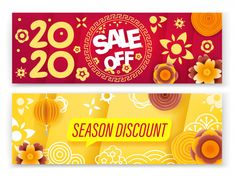Premium Vector   Season sale concept, chinese new year sale banner collection Chines New Year, New Years Sales, Sale Banner, Chinese, Concept, Seasons, Projects, Collection, Log Projects