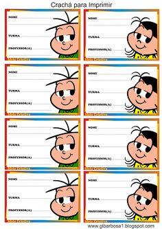 Crachá Turma da Mônica para Imprimir Class Management, Baby Shark, Professor, Children, Kids, Safari, Clip Art, Printables, Comics