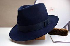 20b0d8347c325 The Admiral - Navy Blue Men s Weight Fur Felt Fedora Hat - Medium Brim - Men
