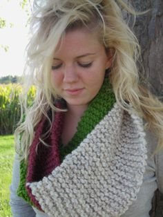 Multi - Colored Knit Infinity Scarf