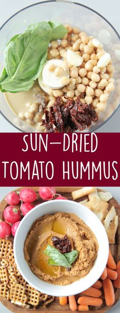 Creamy hummus packed with a ton of flavor from sun-dried tomatoes and basil. Perfect for dipping or using as a spread.