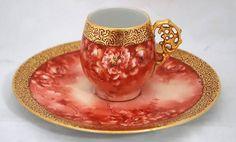 Lomonosov Porcelain Bird Tsar Tea Cup and Saucer